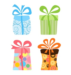 Cute gift boxes collection vector image vector image