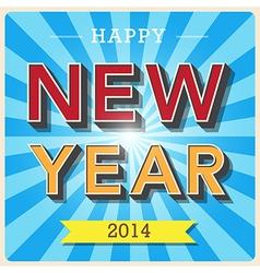 Happy new year retro poster vector image vector image
