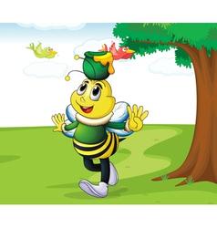 honey bee carrying honey vector image vector image