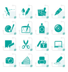 stylized graphic and web design icons vector image vector image