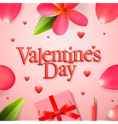 Valentines day concept gift boxe flower petals vector image