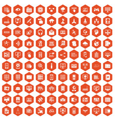 100 database and cloud icons hexagon orange vector