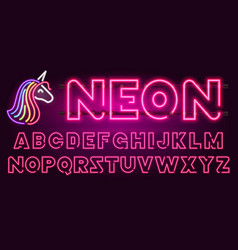 80 s purple neon retro font and unicorn vector image