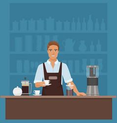 a smiling young man barista preparing coffee vector image