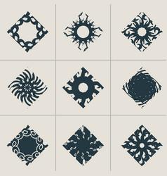Abstract rhomb emblems set vector