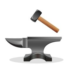 Anvil icon with hammer isolated on white Block vector