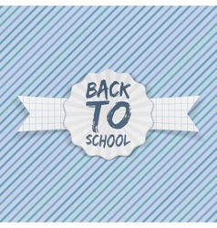 Back to School Emblem with white Ribbon vector