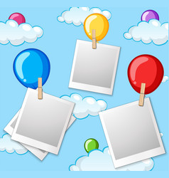 Balloon in sky photo frame vector