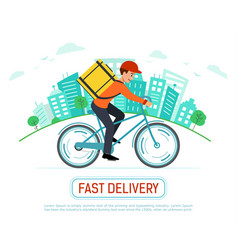 Banner fast delivery goods and food courier vector