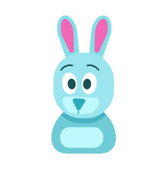 Blue hare with funny face isolated vector