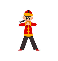 boy in traditional chinese costume showing martial vector image