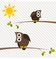 Brown owl and owlet on the tree vector
