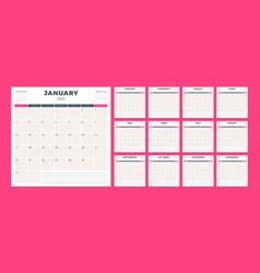 Calendar planner for 2021 year week starts on vector