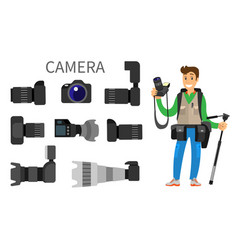 cameras with lens photographer and equipment icon vector image