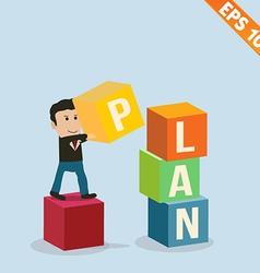 Cartoon Businessman stacking goal box - - EP vector image