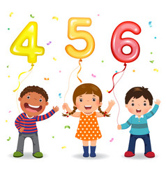 Cartoon kids holding number 456 shaped balloons vector