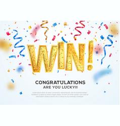 celebration of win on falling down confetti vector image