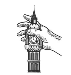 Child playing with big ben tower engraving vector