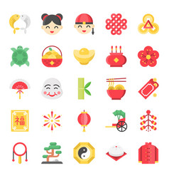 Chinese new year flat cute icon 128 px on grid vector