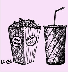 Cinema popcorn soda vector