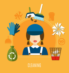 Cleaning company circle composition vector