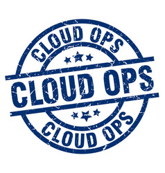 Cloud ops blue round grunge stamp vector