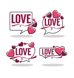 collection hearts and love logo emblems vector image