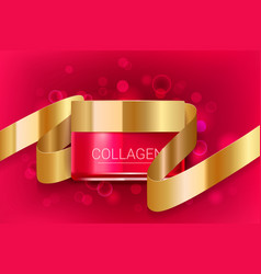 cosmetic face cream box with golden ribbon vector image