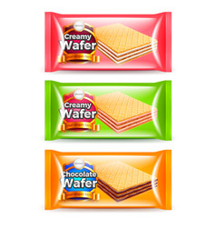 Creamy wafer packaging 3d realistic set vector