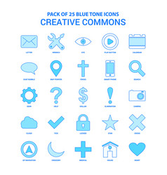 Creative commons blue tone icon pack - 25 icon vector