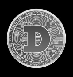 Crypto currency dogecoin silver symbol vector