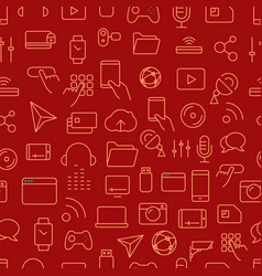 different tech icons seamless background vector image