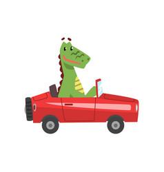Dragon driving red car funny adorable animal vector