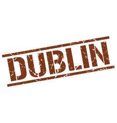 Dublin brown square stamp vector