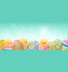 easter eggs and chicks banner vector image