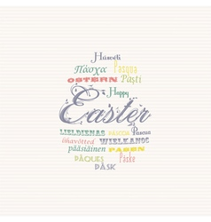 Easter typography multi language background vector image