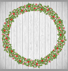Festive holiday wreath on a rustic wooden vector