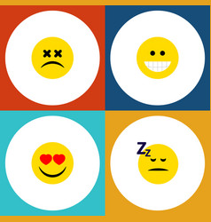 Flat icon face set of cross-eyed face asleep vector
