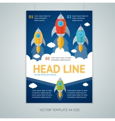 flying rocket brochure flyer design vector image