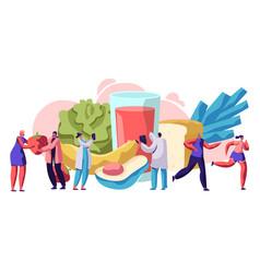 fresh healthy food typography banner design vector image