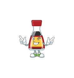 Funny face say asian sauce cartoon with wink eye vector