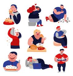 gluttony habits lat icons set vector image