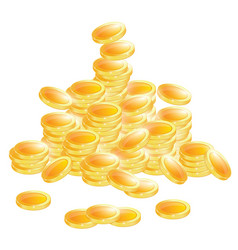 golden coins isolated on white background vector image