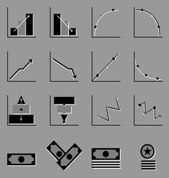 Graph and money icons on gray background vector image