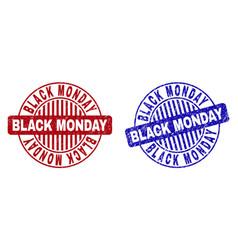Grunge black monday textured round stamps vector