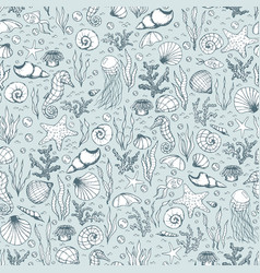 Hand drawn sea life pattern with fish seahorse vector