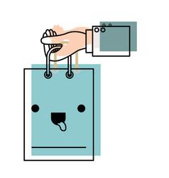Hand holding a kawaii shopping bag in watercolor vector