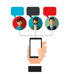 hand holding phone bubbles speak people social vector image