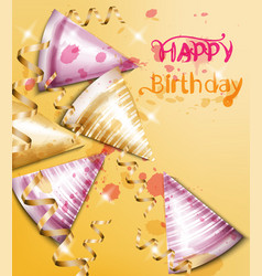 Happy birthday card with party hats vector