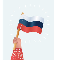 human hands holding russian flag vector image